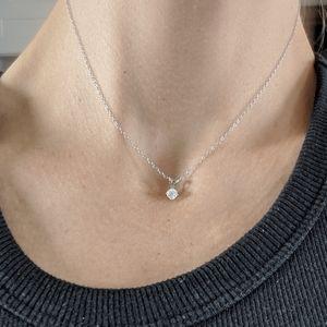 Jewelry - 14K White Gold Solitaire Diamond Pendant